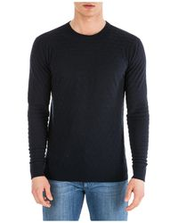 Emporio Armani Men's Crew Neck Neckline Sweater Sweater Pullover Regular Fit - Blue