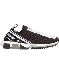 Dolce & Gabbana Sneakers Sorrento In Maglina Stretch Con Logo - Nero