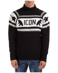 DSquared² Dolcevita maglione collo alto alto maglia uomo icon - Nero