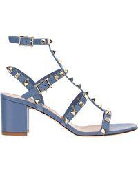 Valentino Valentino garavani sandali donna con tacco pelle rockstud - Blu