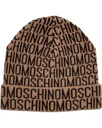 Moschino Men's Wool Beanie Hat - Natural