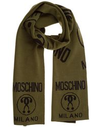 Moschino Men's Scarf Double Question Mark - Green