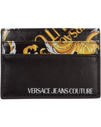 Versace Jeans Couture Men's Genuine Leather Credit Card Case Holder Wallet Logo Baroque - Black