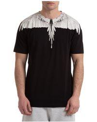 Marcelo Burlon Men's Short Sleeve T-shirt Crew Neckline Jumper Wings - Black