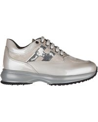 Hogan Girls Shoes Baby Child Leather Trainers Interactive - Natural