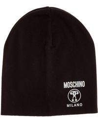 Moschino Women's Beanie Hat Double Question Mark - Black