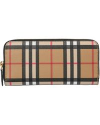 Burberry - Vintage Check Leather Wallet - Lyst