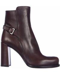 Prada Women's Leather Heel'ankle Boots Booties - Purple