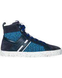Hogan Rebel Boys Shoes Child Trainers High Top Leather R141 - Blue