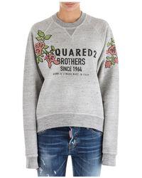 DSquared² Flower Patch Logo Sweatshirt - Gray