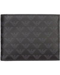 Emporio Armani Men's Genuine Leather Wallet Credit Card Bifold - Black
