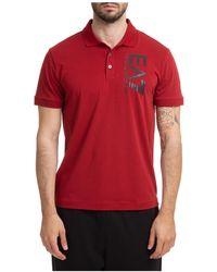 EA7 Men's Short Sleeve T-shirt Polo Collar - Red
