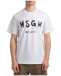 MSGM Men's Short Sleeve T-shirt Crew Neckline Sweater Logo Pennellato - White