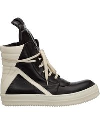 Rick Owens Men's Shoes High Top Leather Trainers Trainers - Black