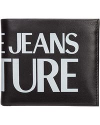 Versace Jeans Couture Men's Genuine Leather Wallet Credit Card Bifold - Black