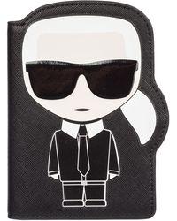 Karl Lagerfeld Men's Travel Document Passport Case Holder K/ikonik - Black