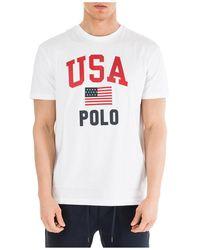 Polo Ralph Lauren Classic Fit Usa Flag T-shirt, White Tee