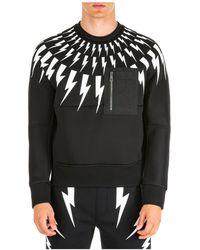 Neil Barrett Men's Sweatshirt Sweat Thunderbolt Kim - Black