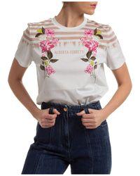 Alberta Ferretti Women's T-shirt Short Sleeve Crew Neck Round - Gray