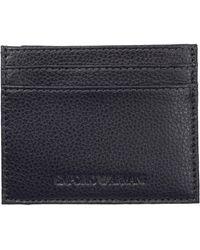 Emporio Armani Porta carte di credito portafoglio uomo pelle - Blu