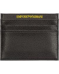 Emporio Armani Porta carte di credito portafoglio uomo pelle - Nero