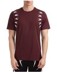 Neil Barrett Men's Short Sleeve T-shirt Crew Neckline Jumper Thunderbolt - Multicolour