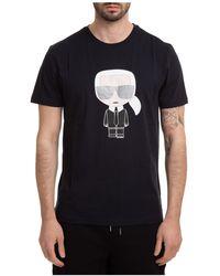 Karl Lagerfeld Short Sleeve T-shirt Crew Neckline Jumper K Iconic - Black