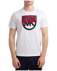Michael Kors Men's Short Sleeve T-shirt Crew Neckline Jumper - White
