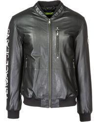 Versace Jeans Couture Leather Outerwear Jacket Blouson - Black