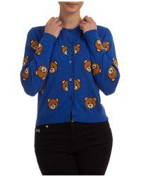 Moschino Women's Cardigan Sweater Teddy Bear - Blue