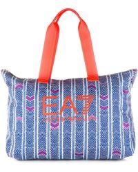 EA7 Nylon Handbag Shopping Bag Purse Train Graphic - Multicolor