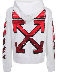 Off-White c/o Virgil Abloh Men's Hoodie Sweatshirt Sweat Marker - Red