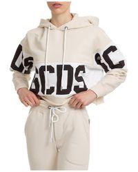 Gcds Women's Sweatshirt Hood Hoodie - Natural