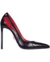 Cesare Paciotti Decolletes decoltè scarpe donna con tacco pelle vernice luce - Nero