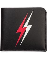 Neil Barrett Men's Genuine Leather Wallet Credit Card Bifold Double Bolt - Black