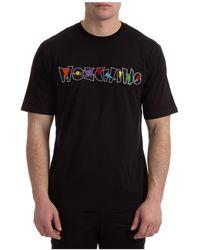 Moschino Men's Short Sleeve T-shirt Crew Neckline Sweater Geometric Logo - Black