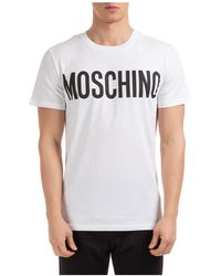 Moschino Men's Short Sleeve T-shirt Crew Neckline Sweater - White
