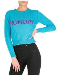 Alberta Ferretti Women's Sweater Sweater Crew Neck Round Rainbow Week Monday - Blue