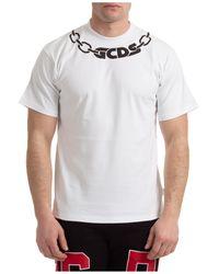 Gcds Men's Short Sleeve T-shirt Crew Neckline Jumper Chain - White