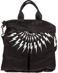 Neil Barrett Men's Bag Handbag Nylon Thunderbolt Fair-isle - Black
