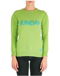 Alberta Ferretti Maglione maglia donna girocollo rainbow week sunday - Verde
