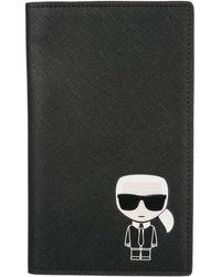 Karl Lagerfeld Travel Document Passport Case Holder K/ikonik - Black