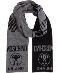 Moschino Men's Wool Scarf Double Question - Grey