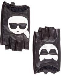 Karl Lagerfeld Women's Leather Gloves K/ikonik - Black