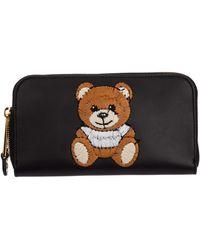 Moschino Women's Wallet Leather Coin Case Holder Purse Card Bifold Teddy Bear - Black