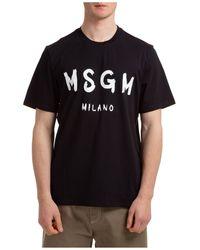 MSGM Men's Short Sleeve T-shirt Crew Neckline Sweater - Black