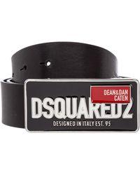 DSquared² Men's Genuine Leather Belt - Black