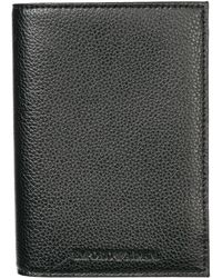Emporio Armani Textured Leather Passport Holder - Black