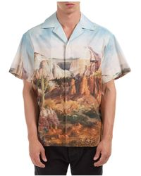 Palm Angels Camicia uomo maniche corte canyon bowling - Blu