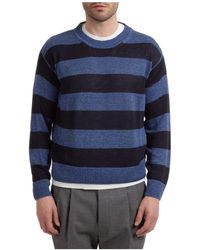 Lardini Men's Crew Neck Neckline Sweater Sweater Pullover - Blue